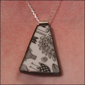 Pendant made from broken plate, from the Broken Plate Pendant Company.