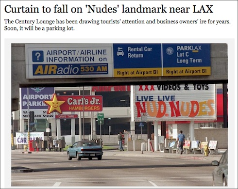 Nude club near LAX to be torn down.