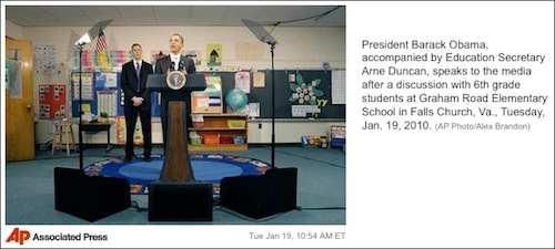 Obama and his teleprompter.